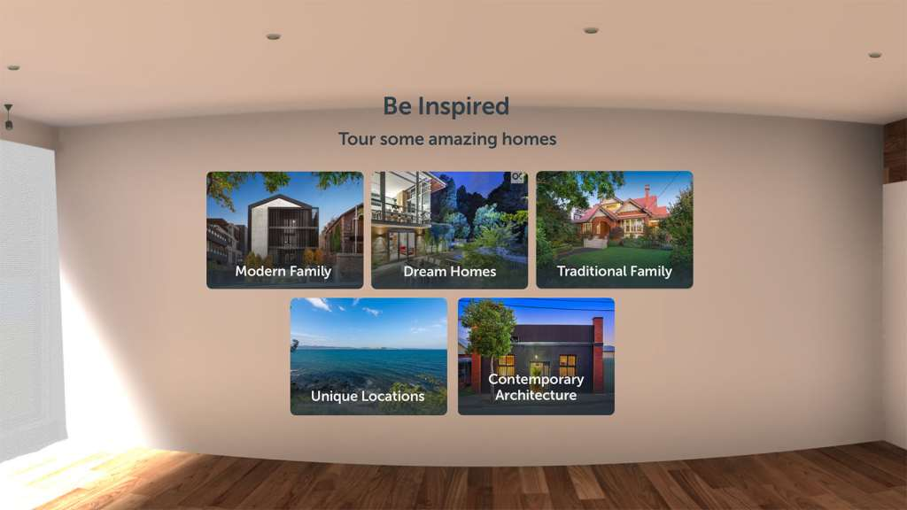 Five category, and at launch, only a few homes are available for virtual tours in each of these.