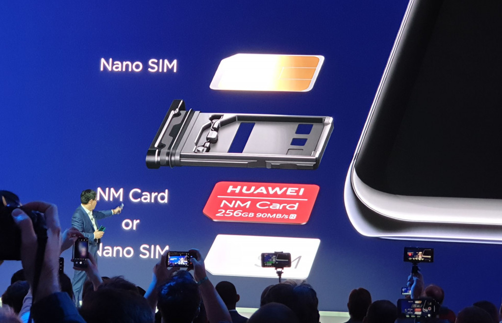 Huawei Mate 20 Pro launch with Nano Memory on display