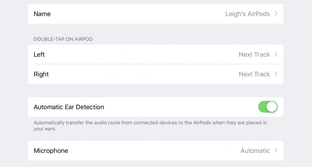 Apple AirPods controls on iOS (iPad)
