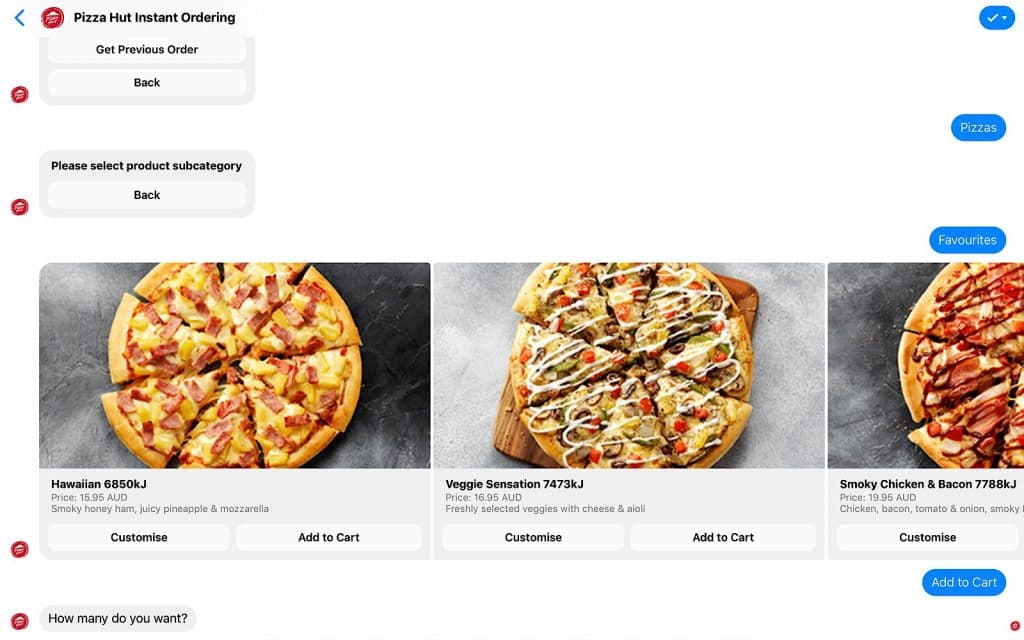 Pizza Hut ordering over Facebook Messenger