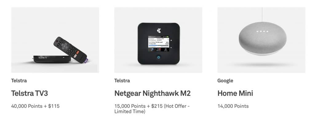 Telstra Plus points store examples