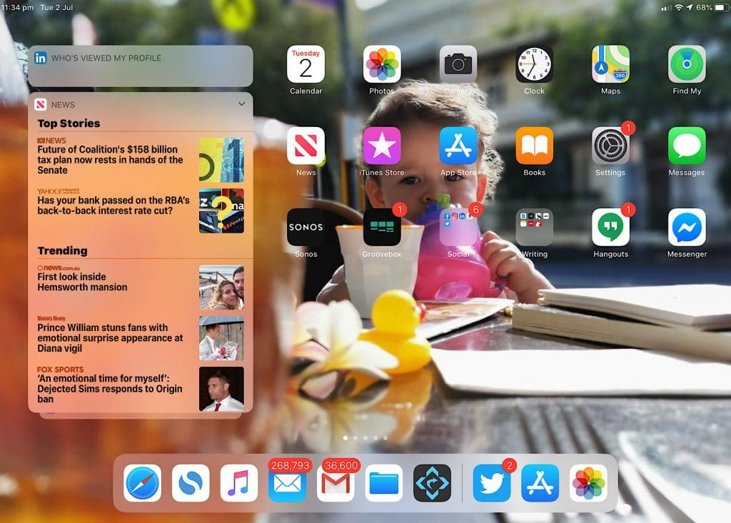 The new home and dock on iPadOS