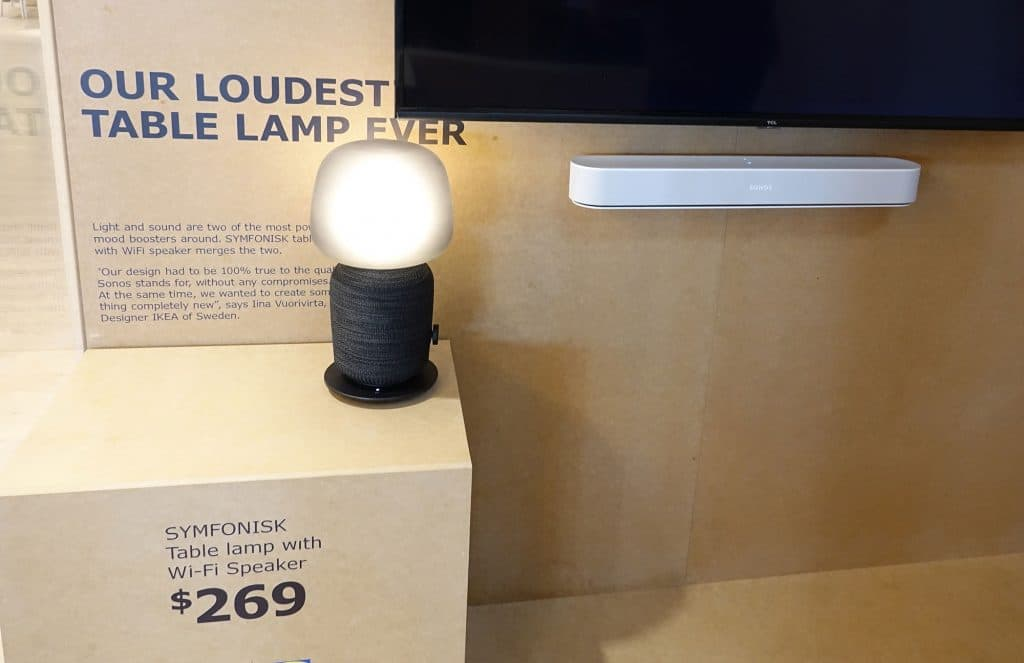IKEA Symfonisk Table Lamp Speaker next to a Sonos Beam