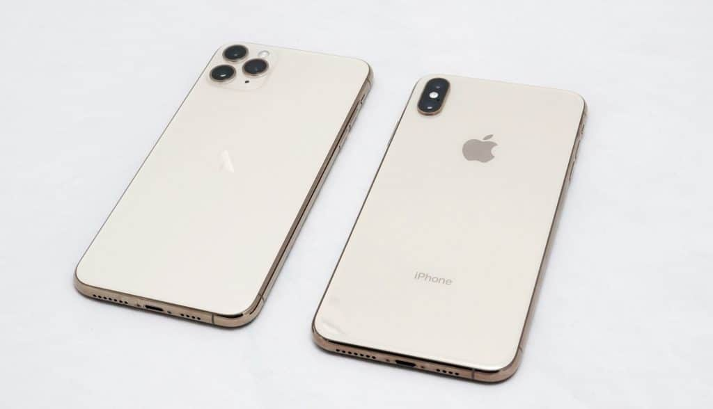 Apple iPhone 11 Pro Max next to the iPhone XS Max