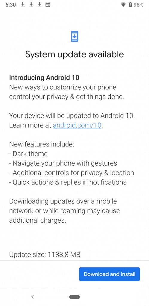 Android 10 update on the Pixel 3a