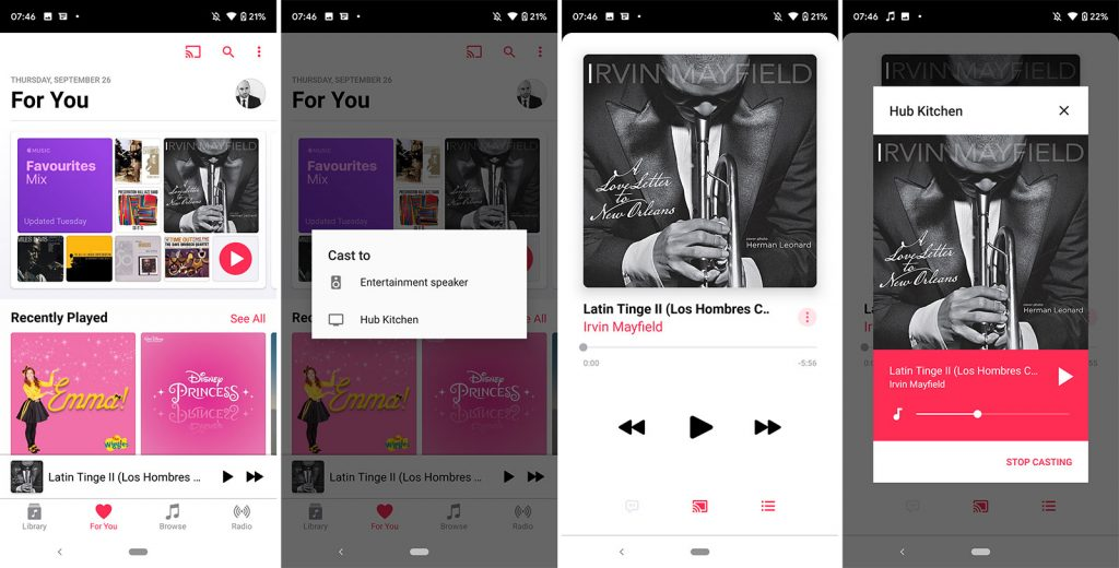 Apple Music on Android supporting Chromecast