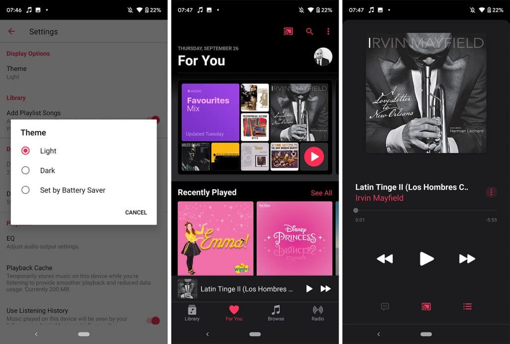 Apple Music on Android with Dark Mode