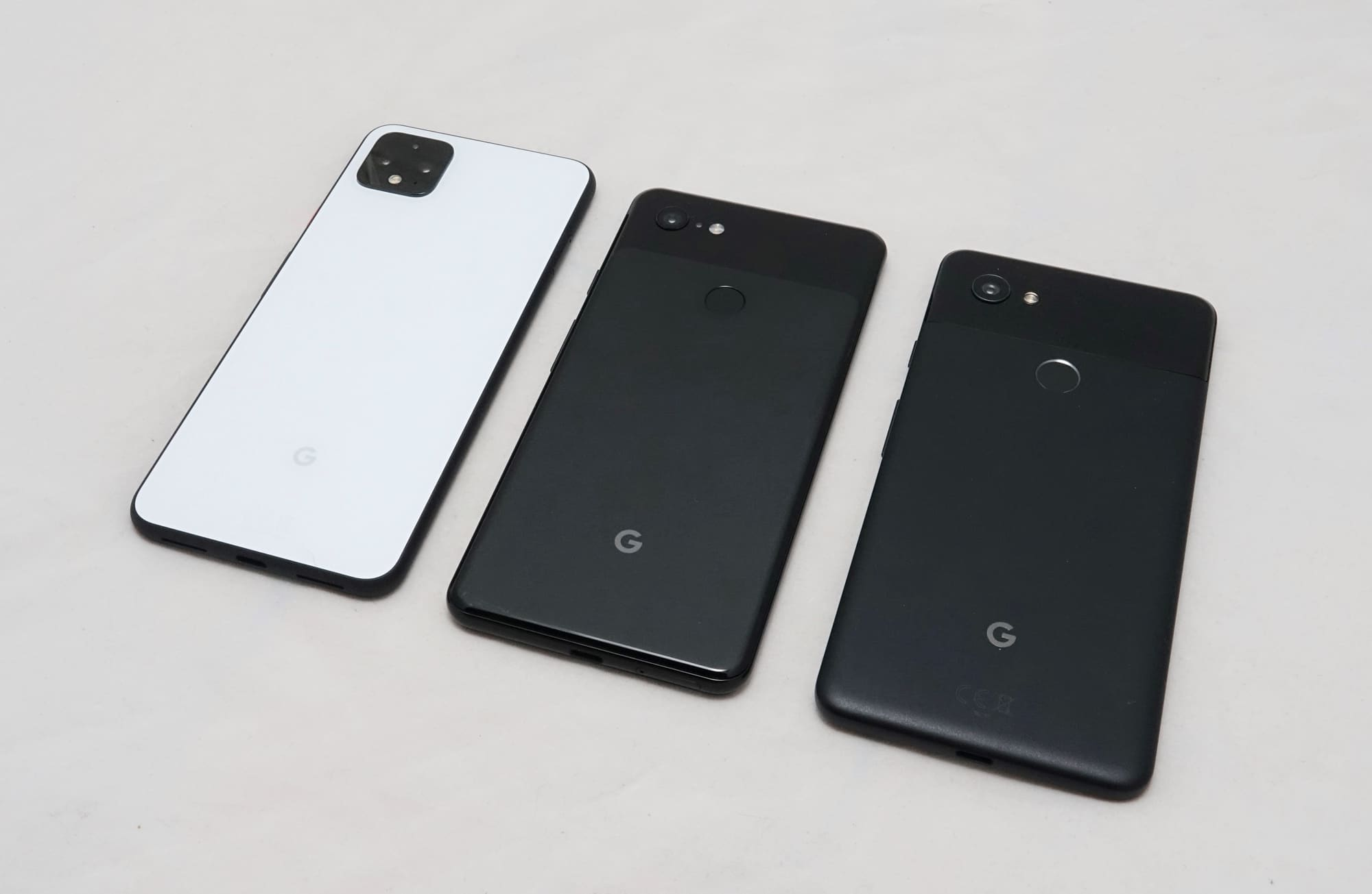 Google Pixel 4 XL (left) next to the Pixel 3 XL (middle) and Pixel 2 XL (right)