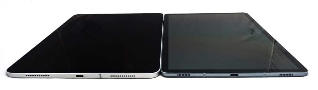 The iPad Pro 11 next to the Galaxy Tab S6