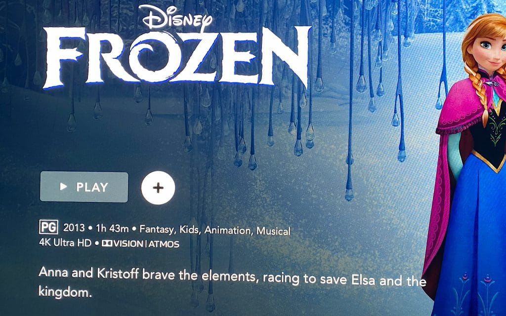 """Frozen"" in 4K Ultra HD on Disney+"