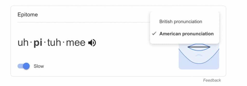 Google's pronunciation feature