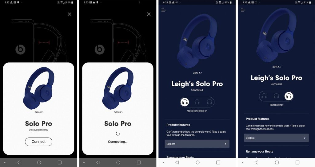 Beats Solo Pro controls on Android can show you battery life, too.