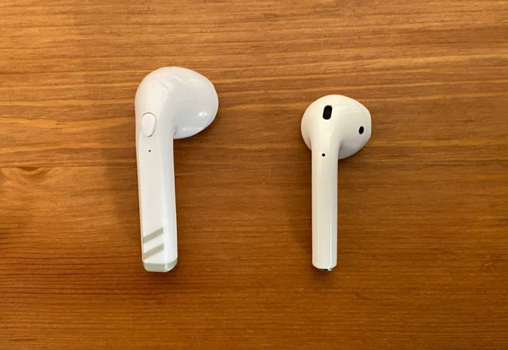 Anko True Wireless Earphones (left) vs Apple AirPods (right)
