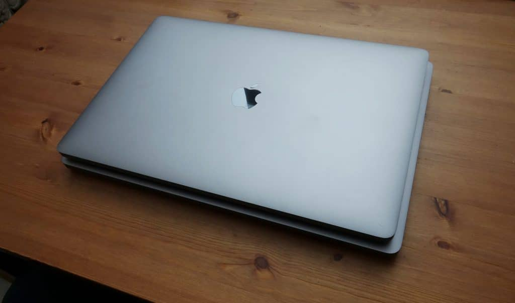 Apple MacBook Pro 15 on top of the MacBook Pro 16