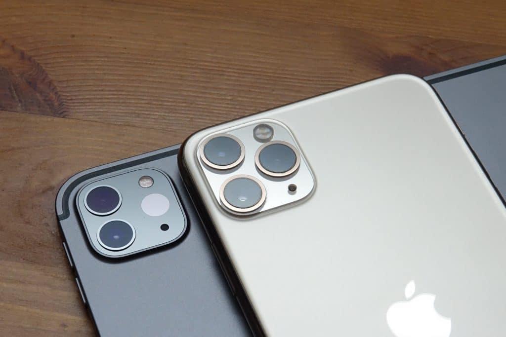 Apple iPad Pro 2020 camera (left) next to the iPhone 11 Pro Max camera (right)