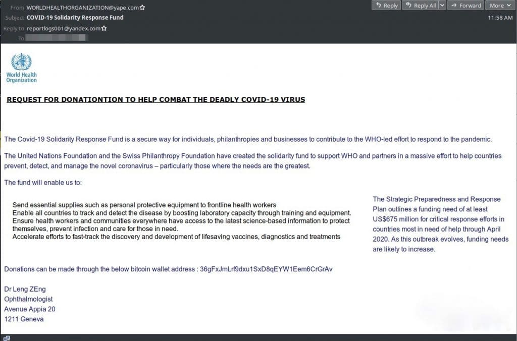 The COVID-19 scam as received by Sophos labs