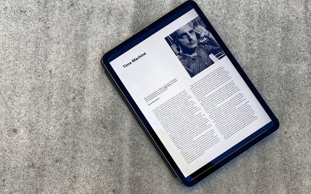 Readly on an iPad Pro with Electronic Sound