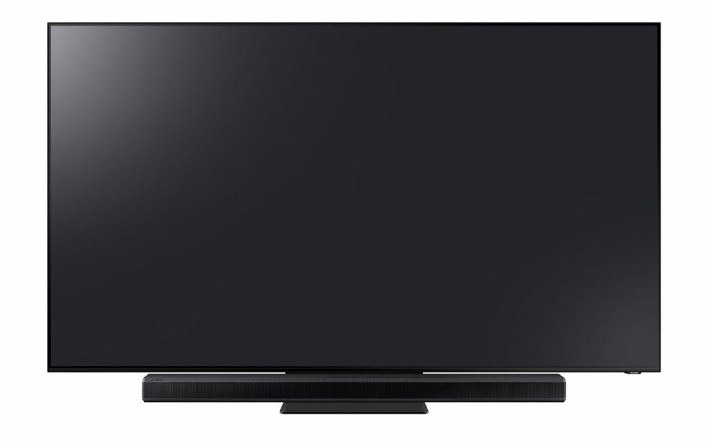 Samsung Q800T soundbar under a Samsung 2020 TV