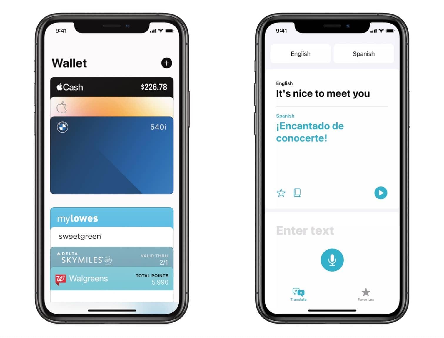 Digital car keys join the Wallet app (left), and Apple gains a translation app (right)