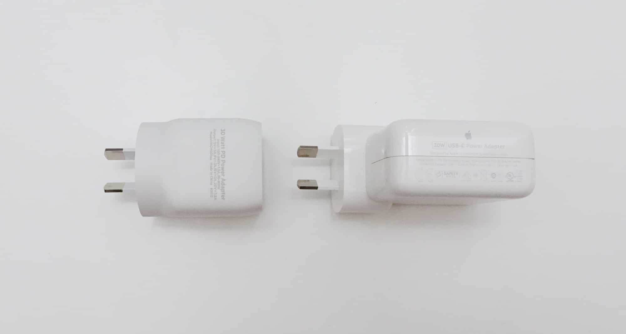 Belkin 30W GaN Boost charge pack (left) vs Apple 30W MacBook Air charge pack (right)