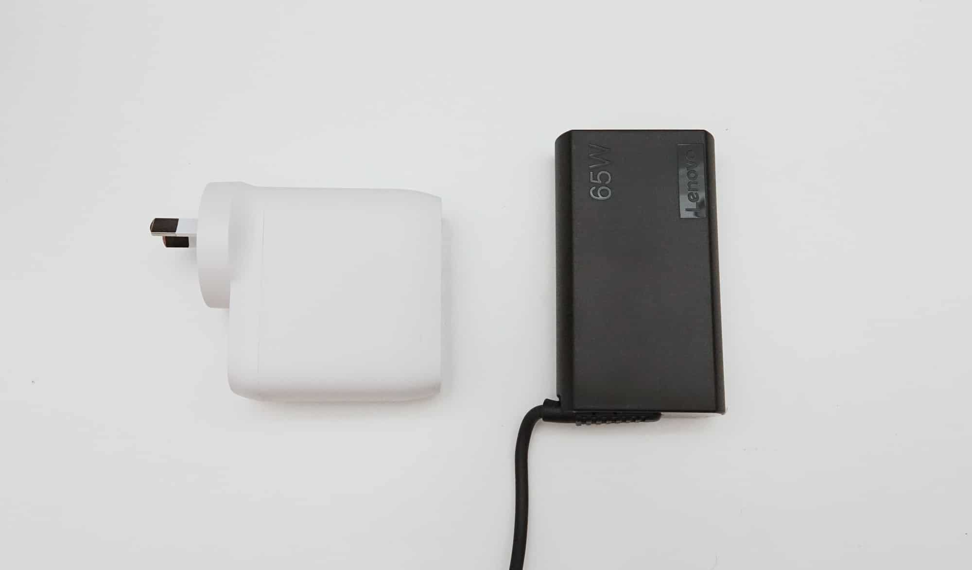 Belkin 68W GaN Boost Charge Pack (left) vs Lenovo 65W Charge Pack (right)