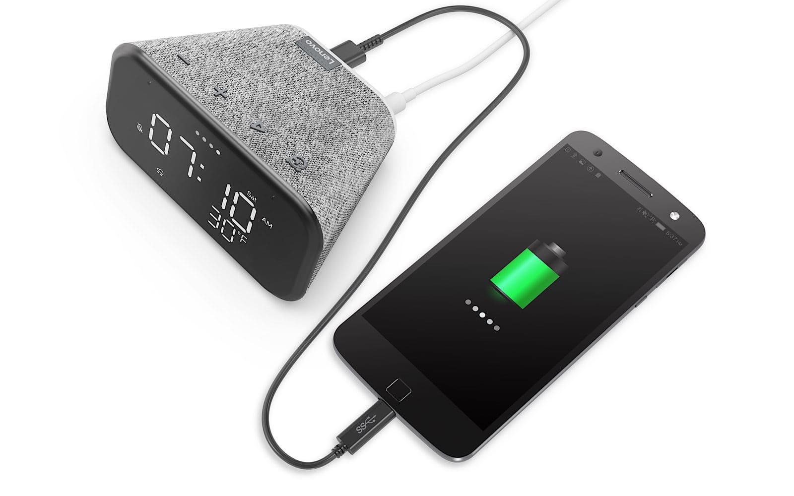 Charging a phone with the Lenovo Smart Clock Essential