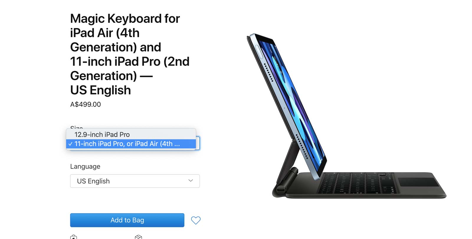 Magic Keyboard compatibility listed by the Apple Store site