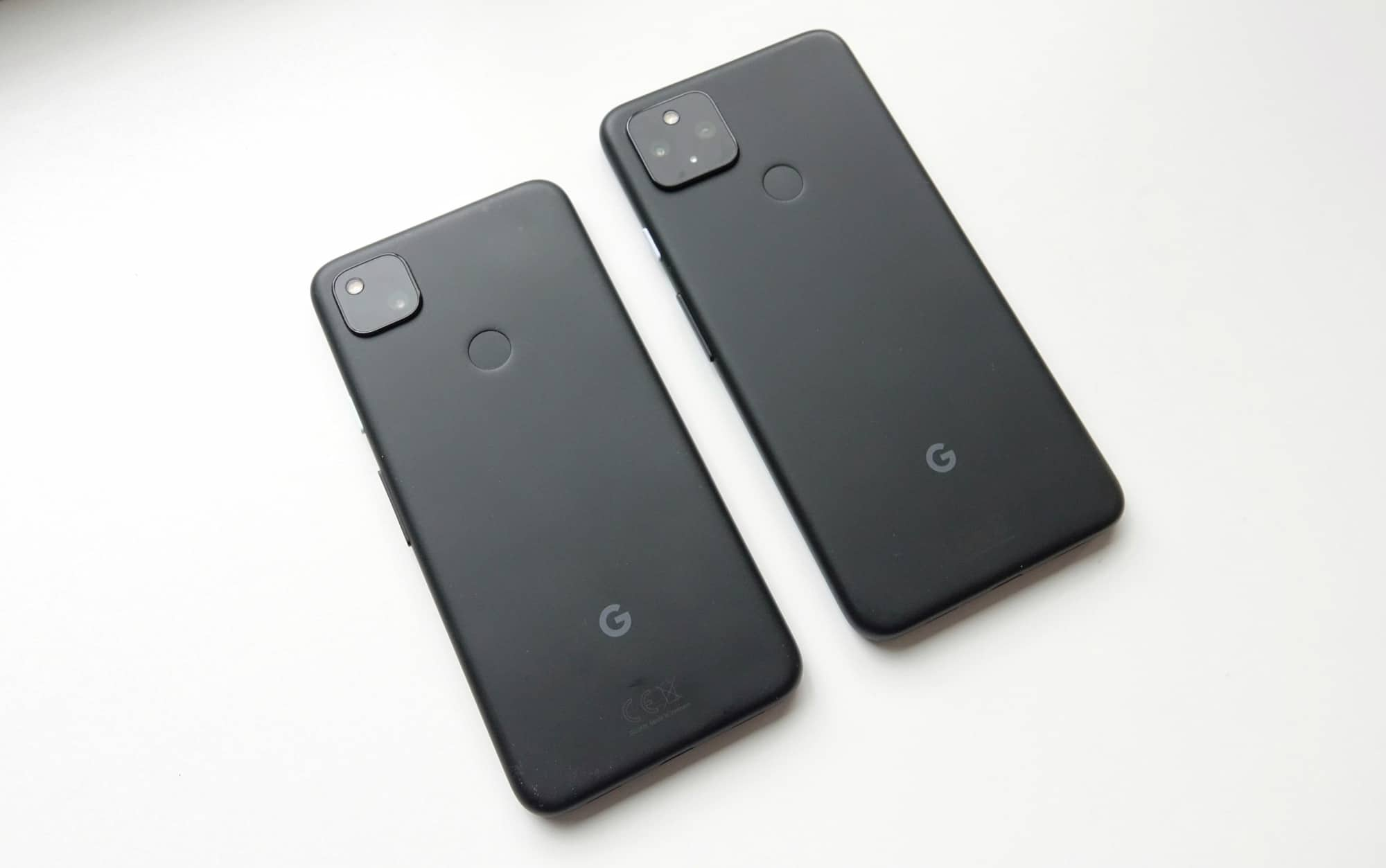 Google Pixel 4a (left) with Google Pixel 4a with 5G (right)