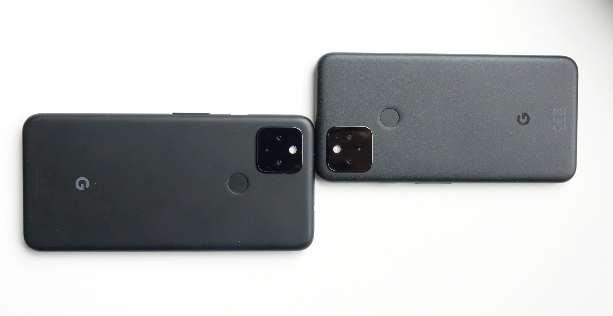 The cameras on the Pixel 4a with 5G (left) and the Pixel 5 (right).