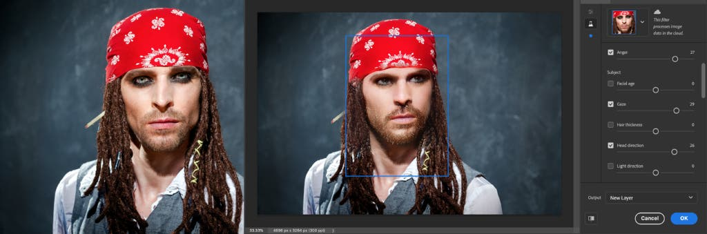 The new Portrait filter in Photoshop