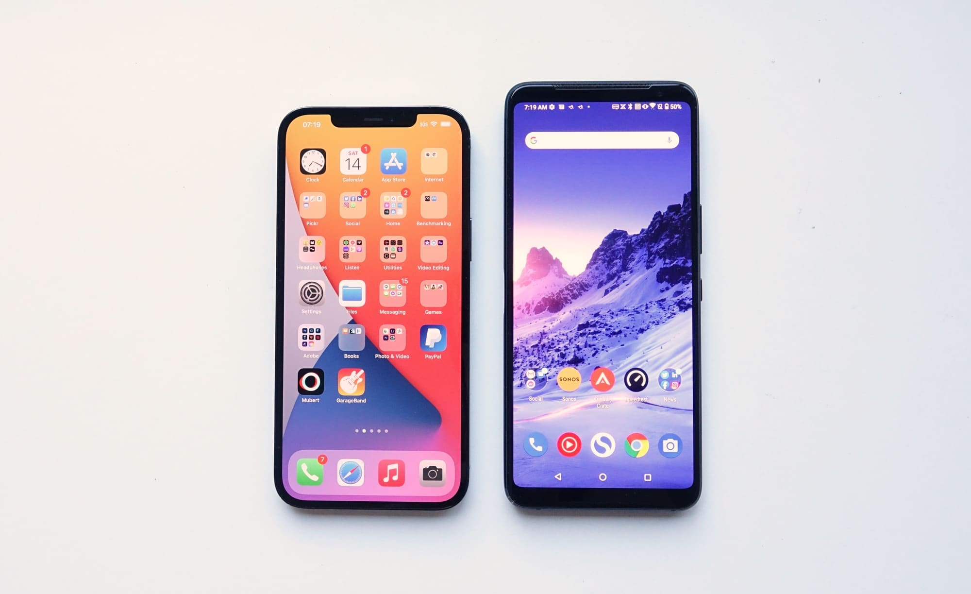 Big phones compared: Apple iPhone 12 Pro Max (left) vs Asus ROG Phone 3 (right)