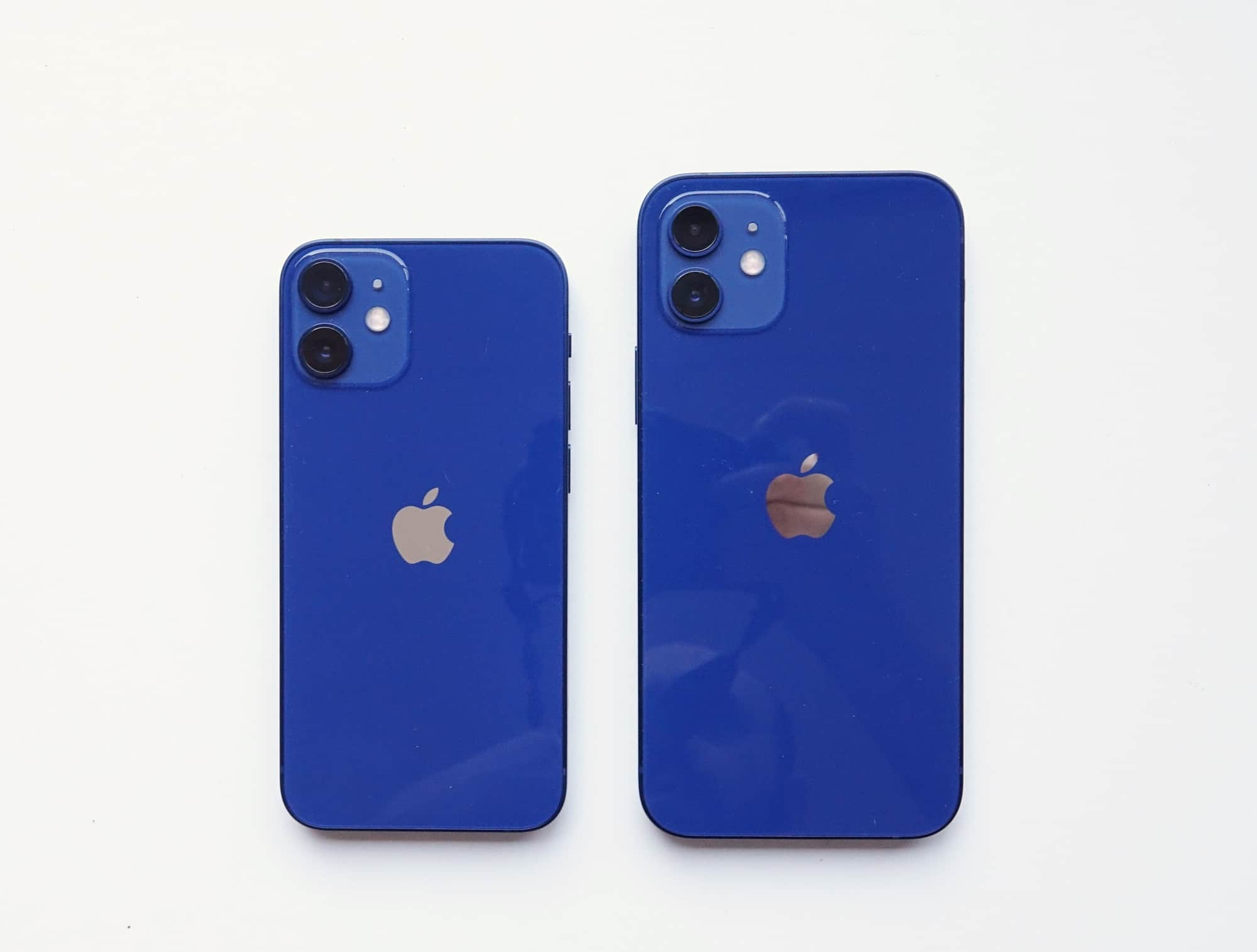 iPhone 12 Mini (left) versus the iPhone 12 (right)