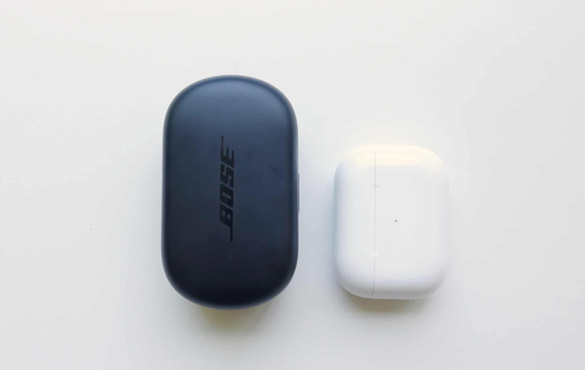 Comparing the Bose QC Earbuds (left) and the Apple AirPods Pro (right)