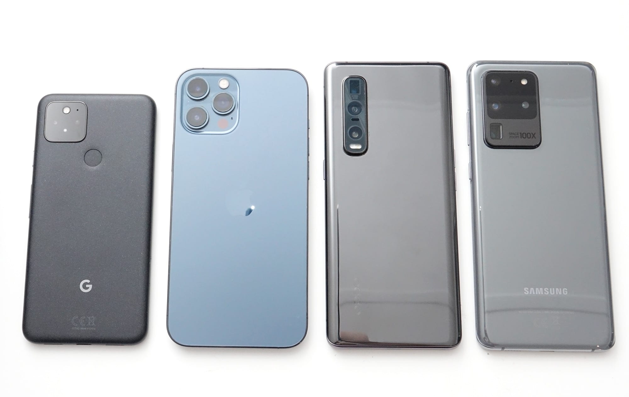 The best phone cameras of 2020 from left to right: Google Pixel 5, Apple iPhone 12 Pro Max, Oppo Find X2 Pro, and Samsung Galaxy S20 Ultra.