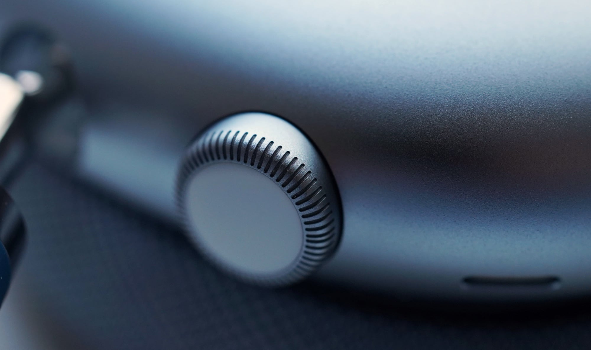 A close-up of the Digital Crown on the AirPods Max