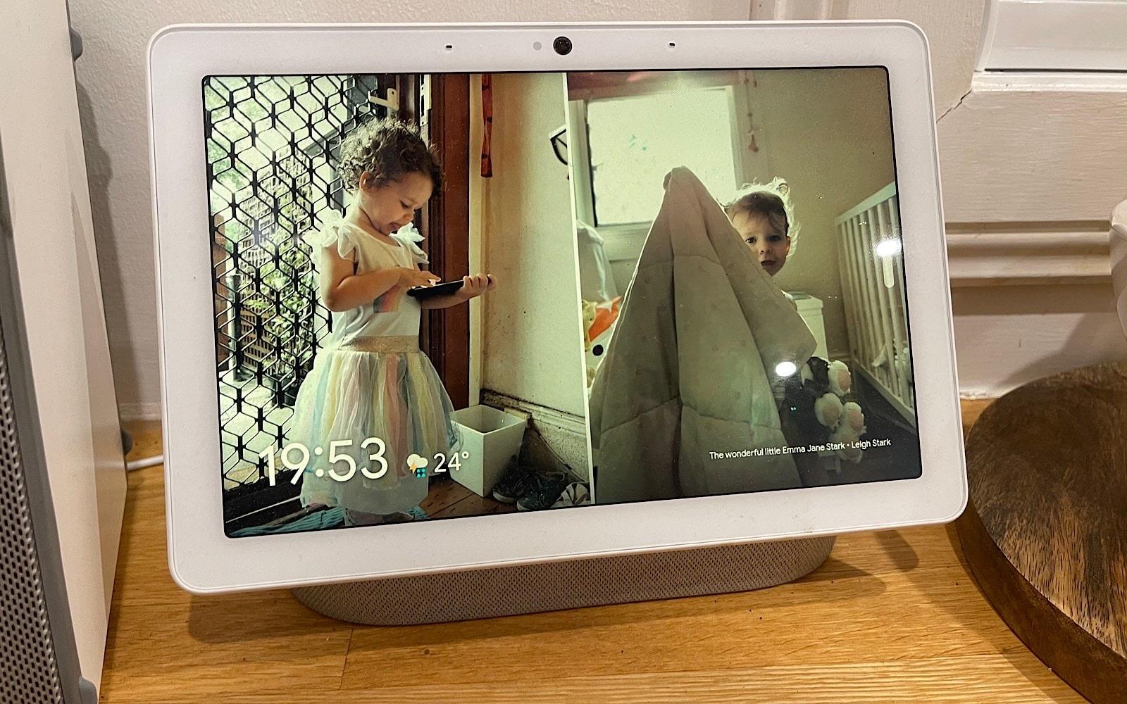 Google Nest Hub with family photos