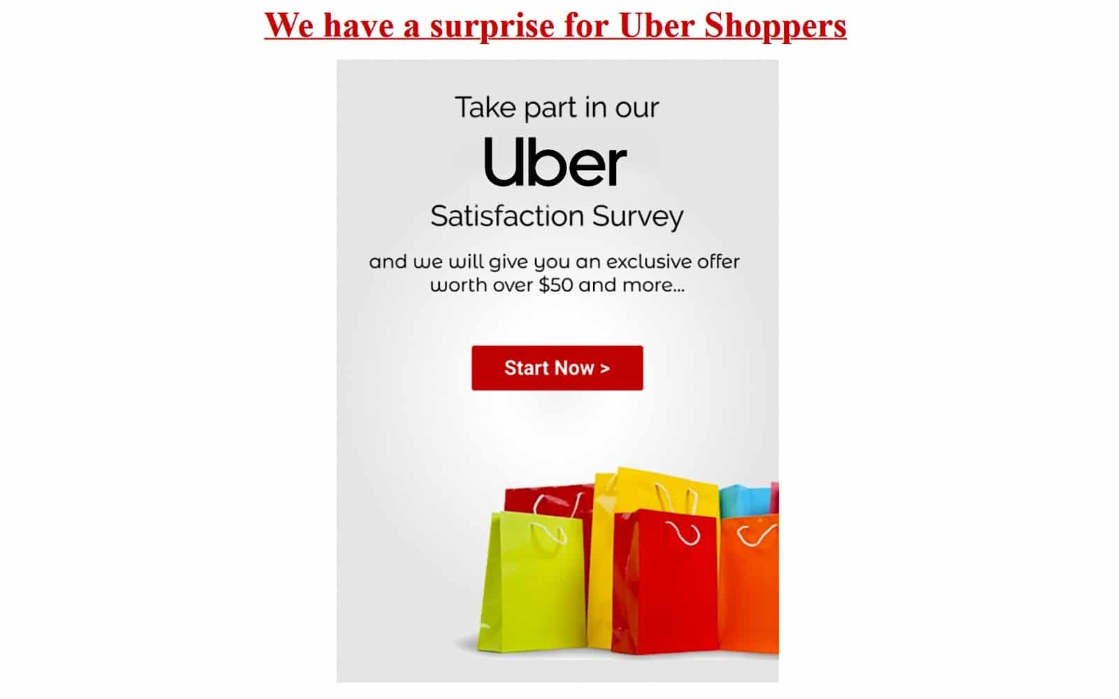 The Uber Shoppers scam email
