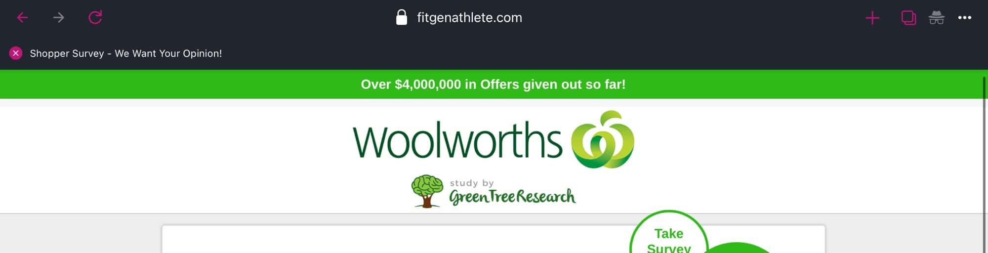 A fake Woolworths site