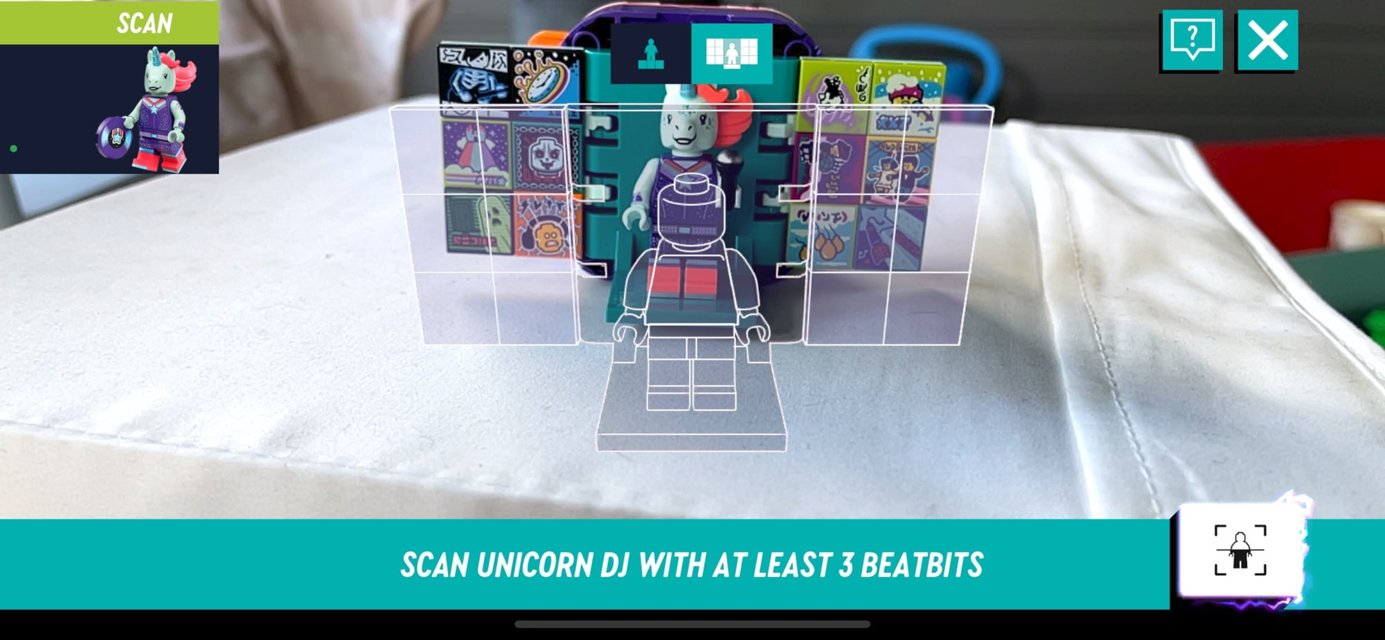 Scanning Lego in to run the app