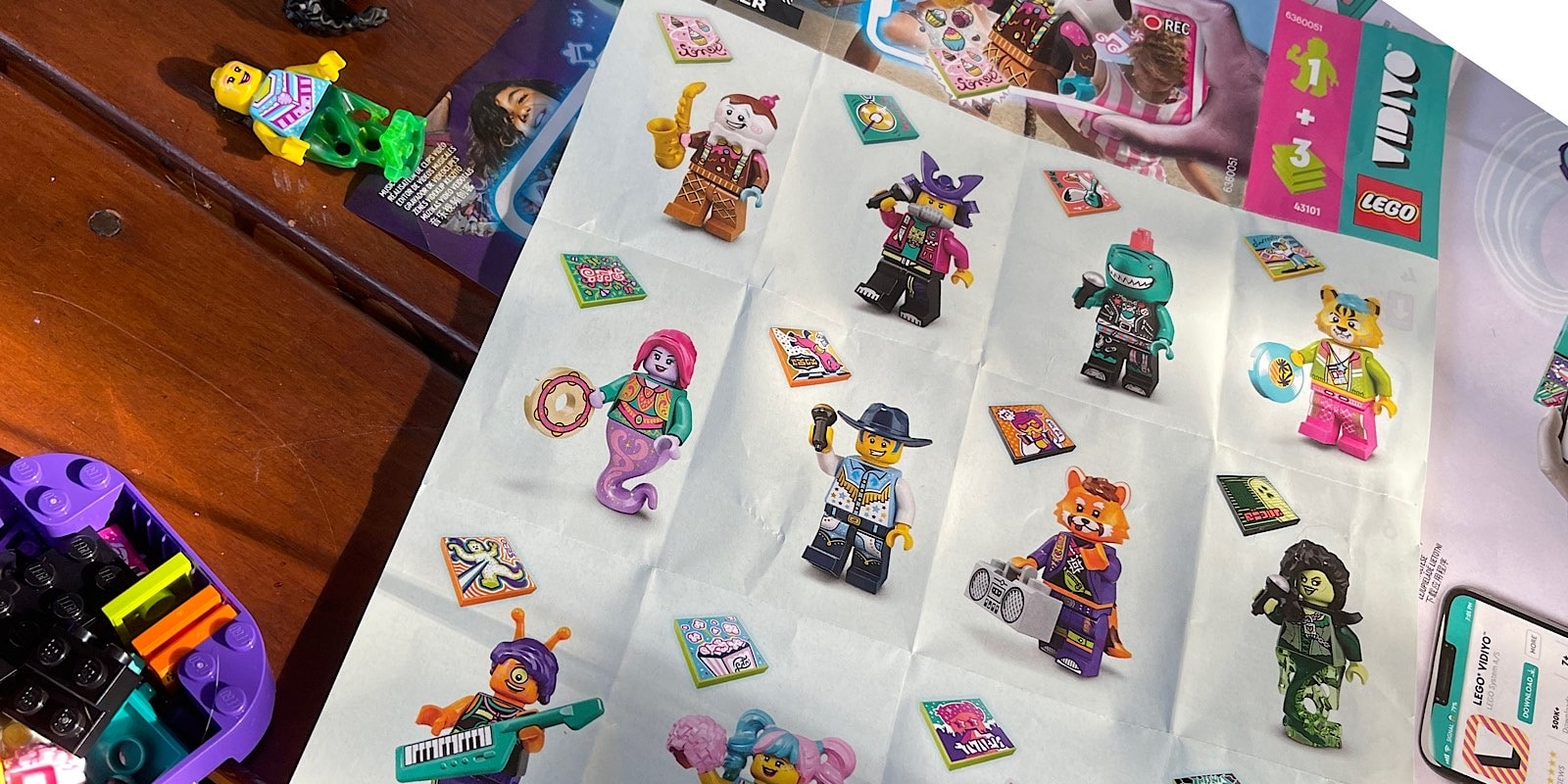 The assortment of Lego Vidiyo toys