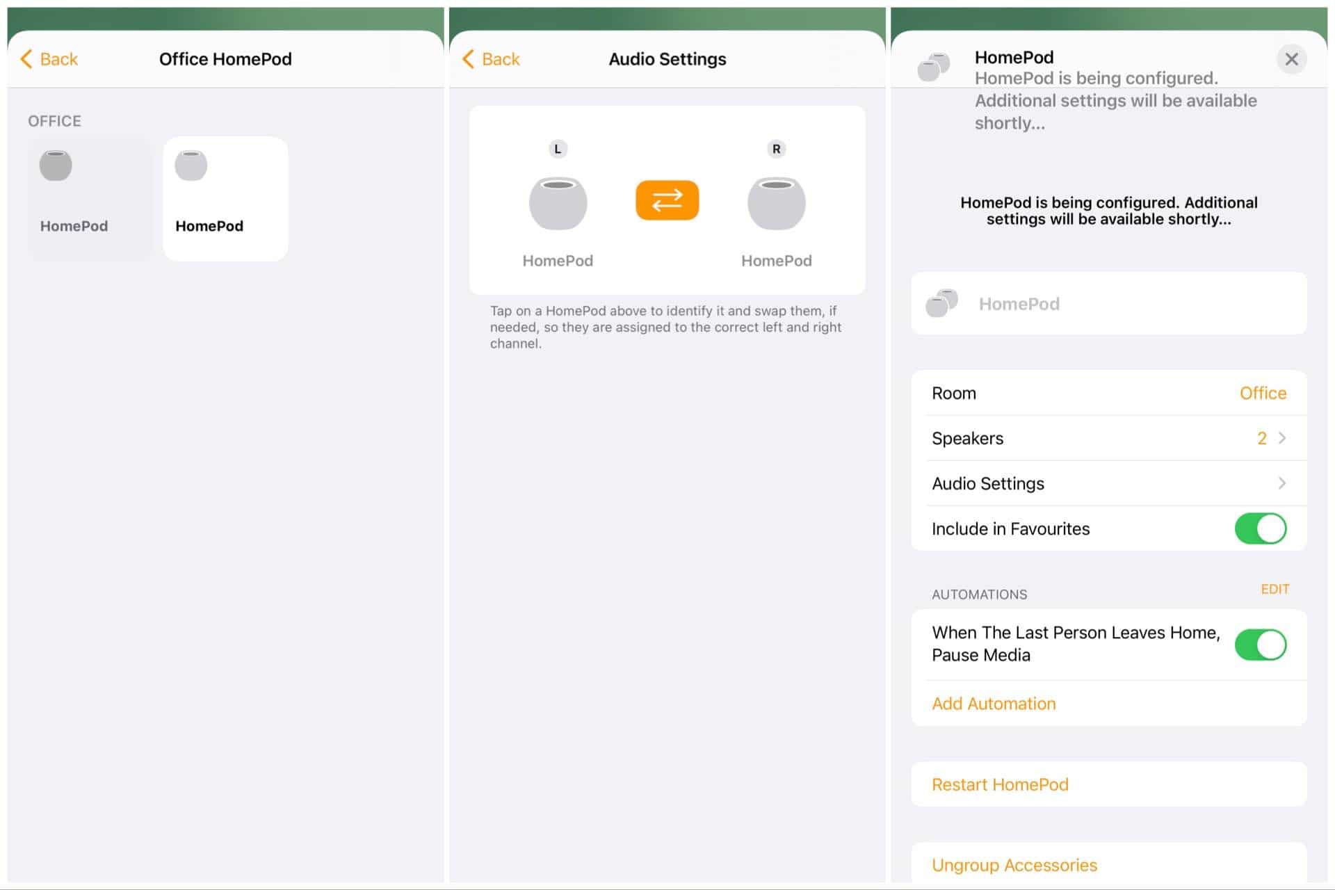 Setting up two speakers with the HomePod Mini on iOS