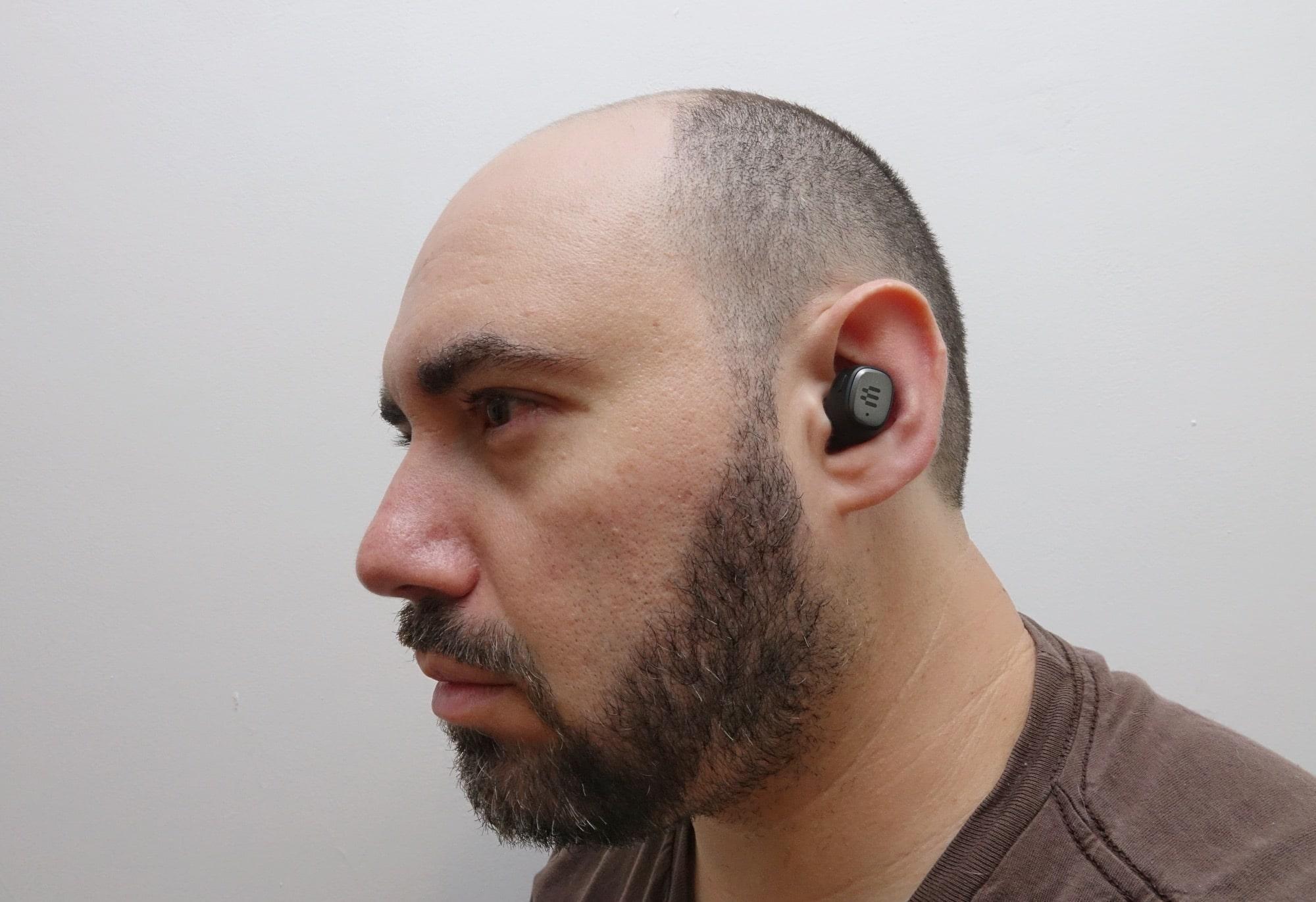 Wearing the GTW 270 earphones