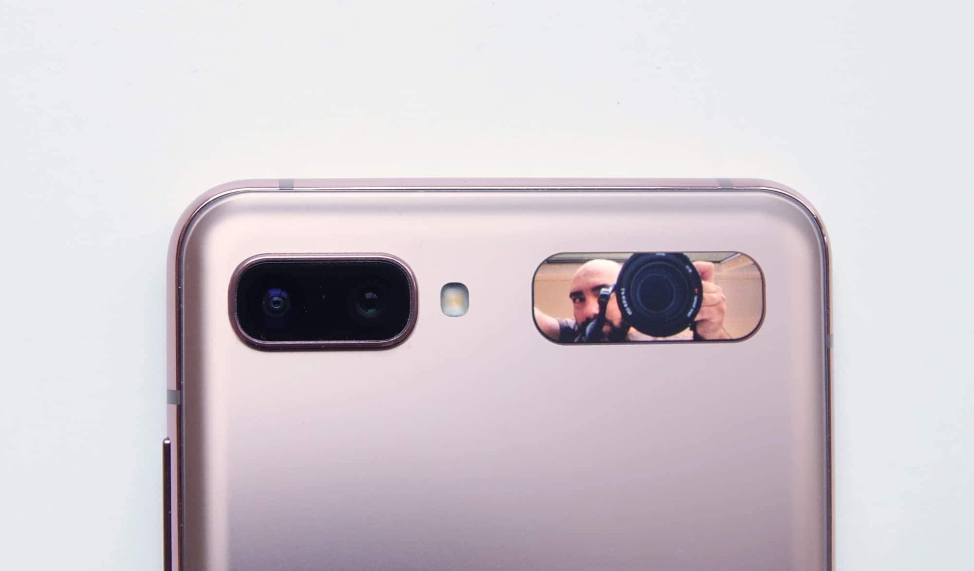 The 1.1 inch rear screen being used for selfies with the standard camera.