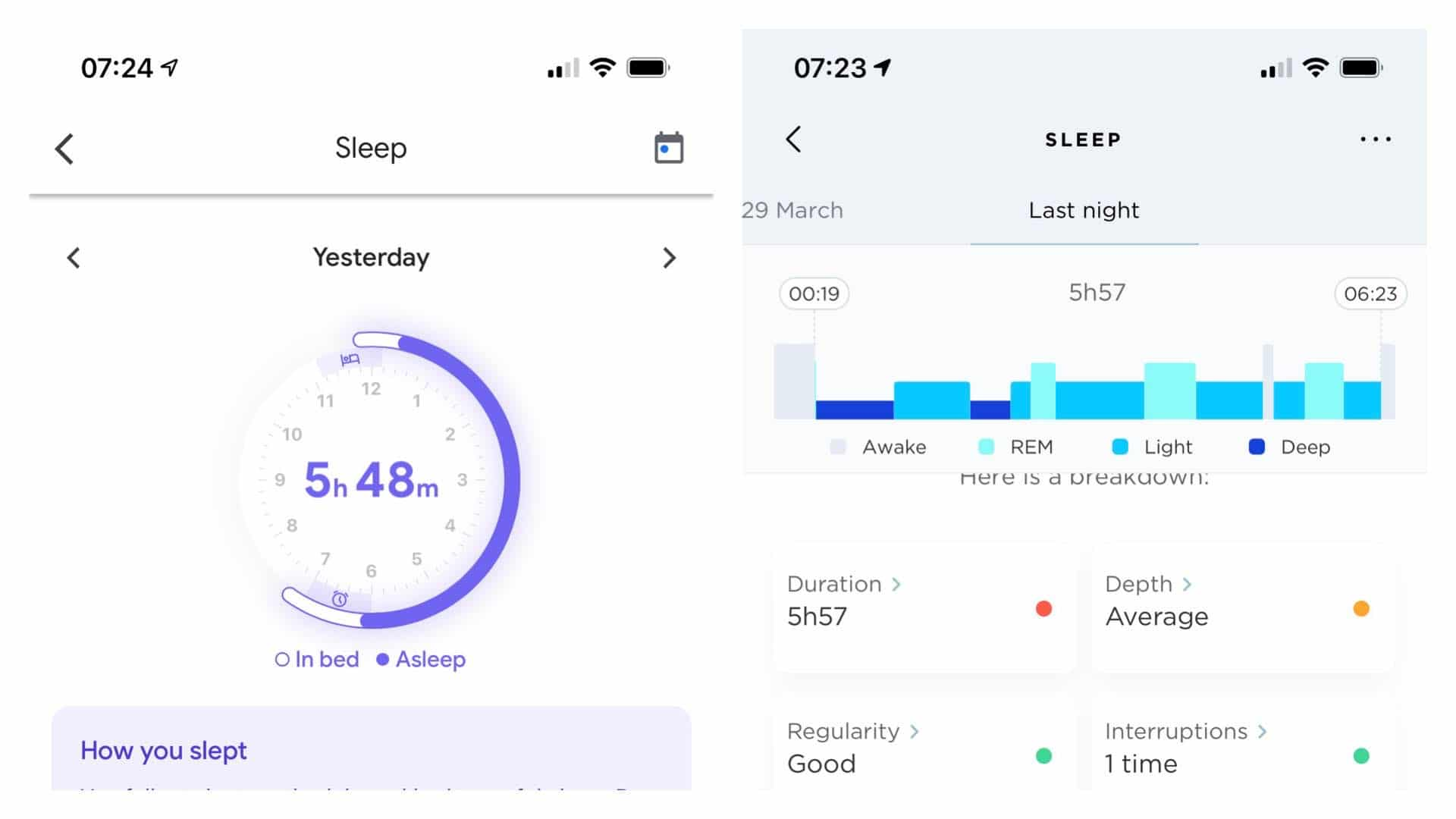 Google Fit's sleep data from the Nest Hub (left) versus what the Withings Sleep Analyser (right) was tracking for the same night.