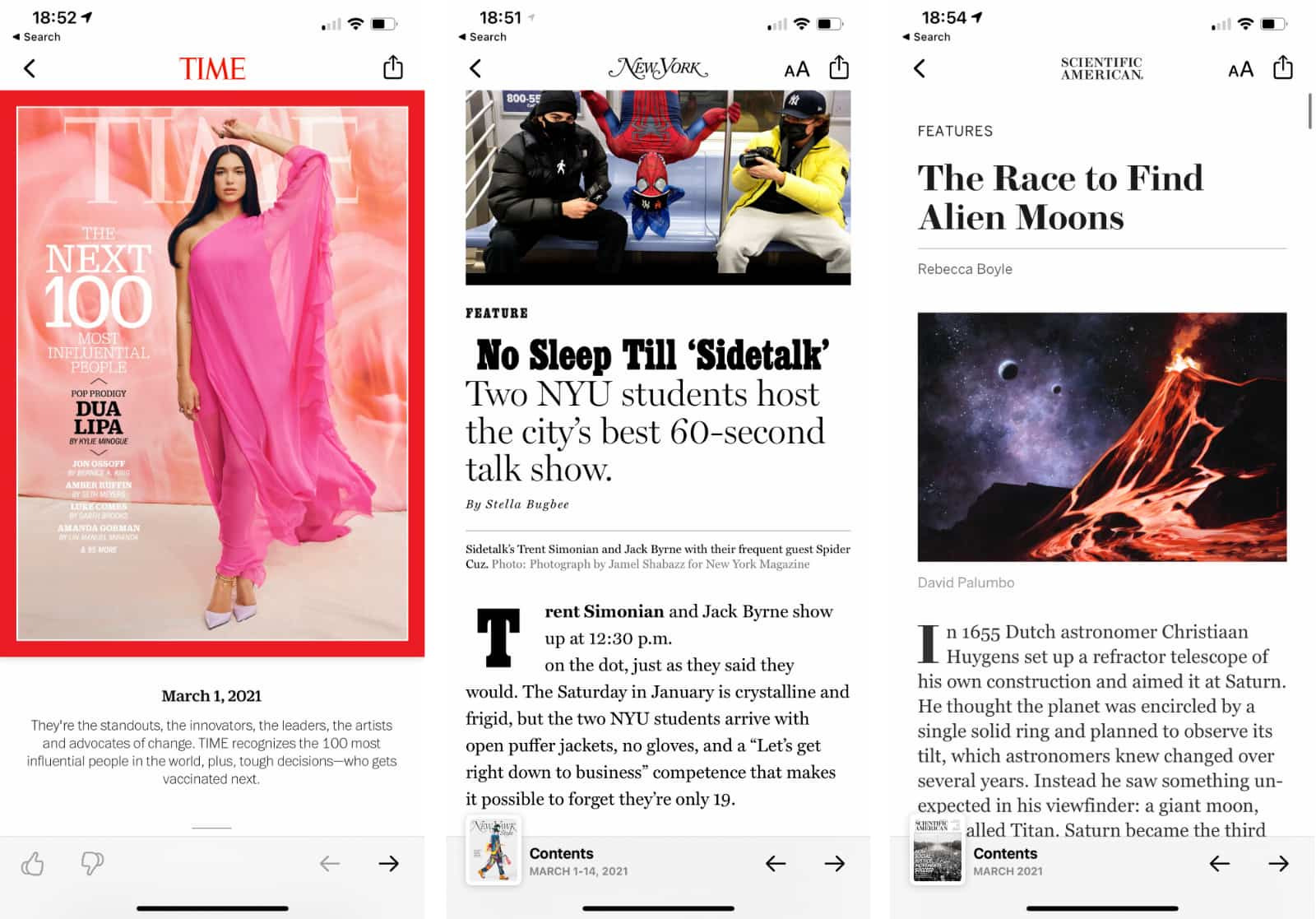 Some of the selection on Apple News+