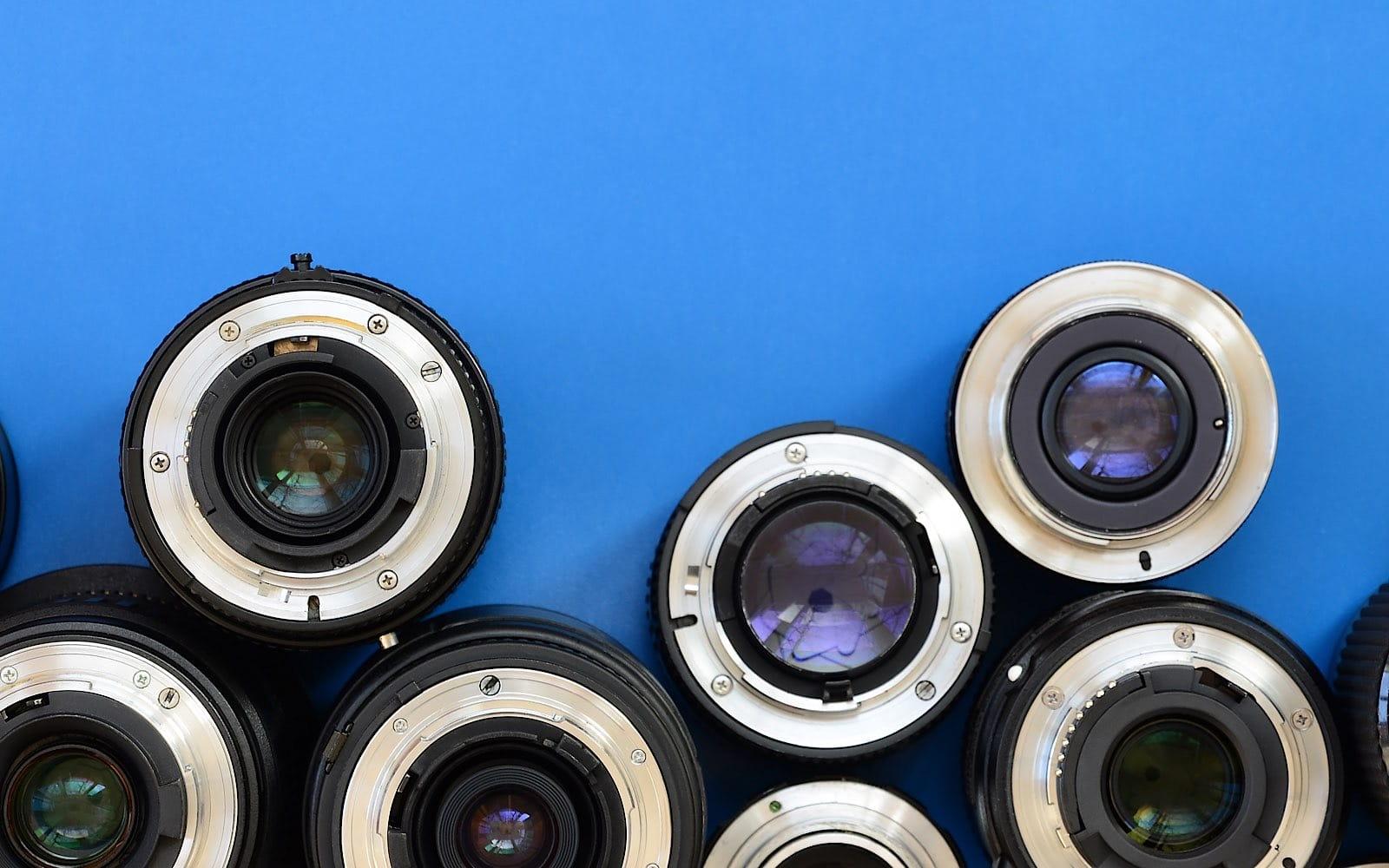 Several lenses on blue