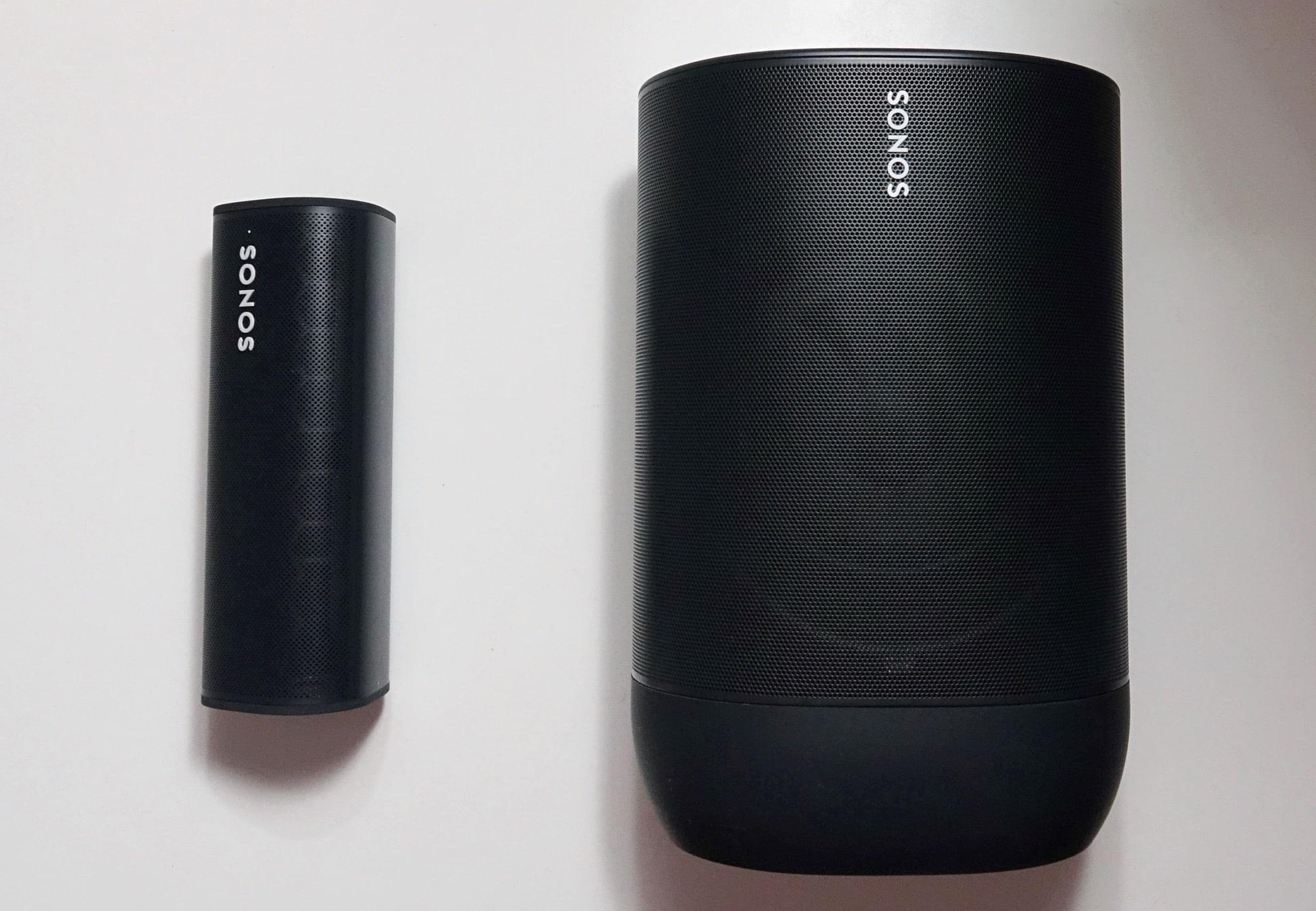 Sonos Roam (left) next to the Sonos Move (right)