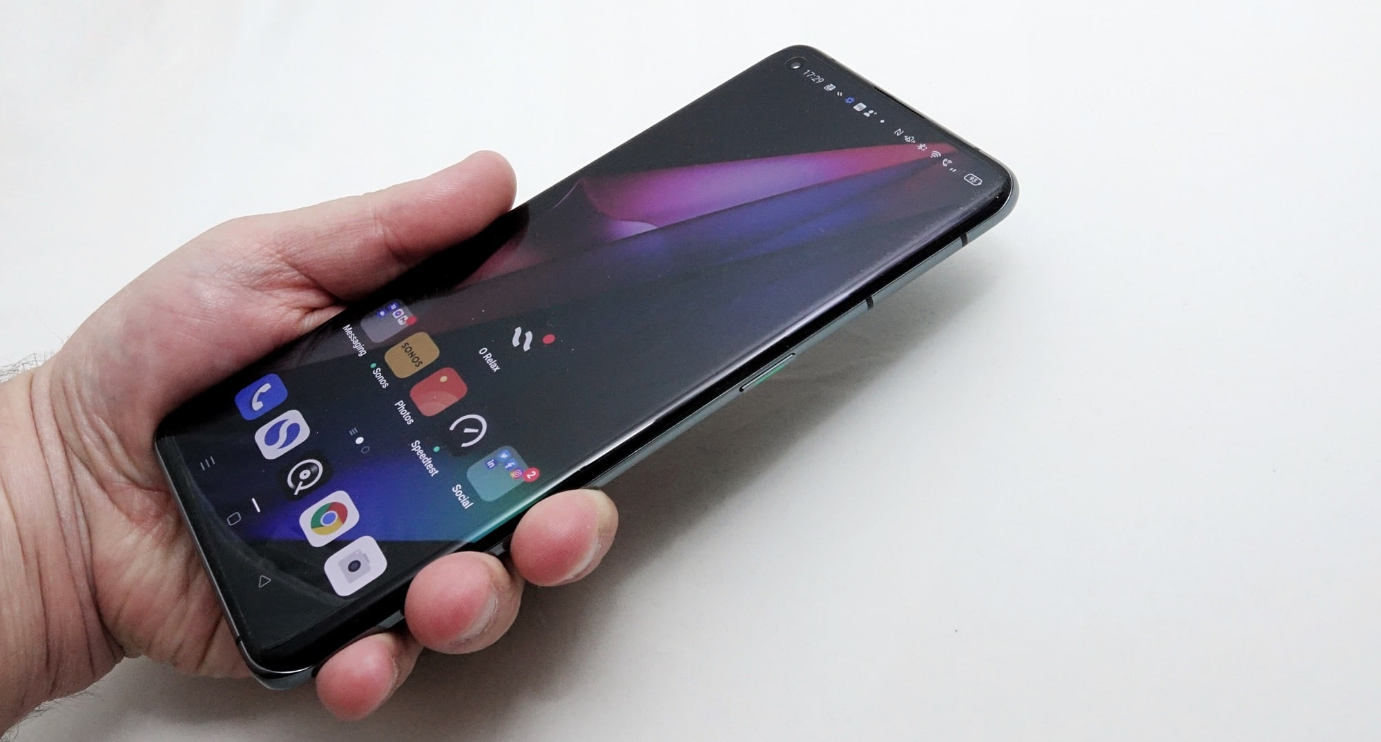 Holding the Oppo Find X3 Pro