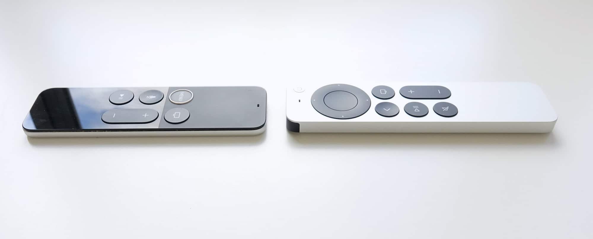 2017 Apple TV 4K remote (left) vs 2021 Apple TV 4K remote