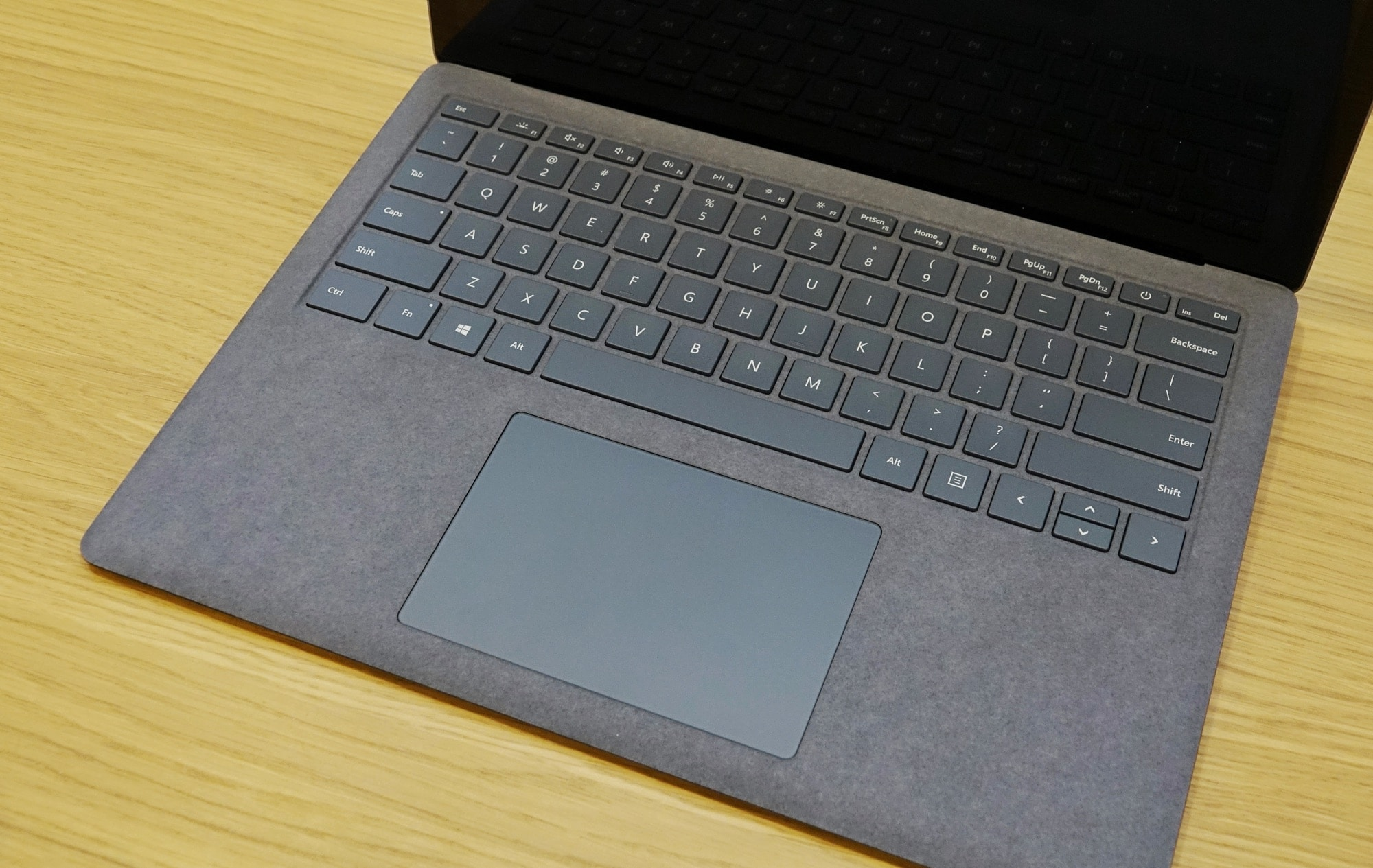 The fuzzy keyboard of the Surface Laptop 4.